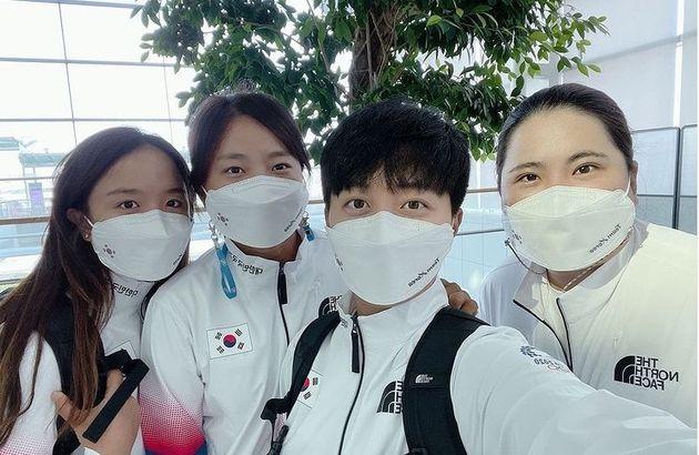 도쿄에 입성한 한국 여자 골프 대표팀(왼쪽부터 김세영, 고진영, 김효주,