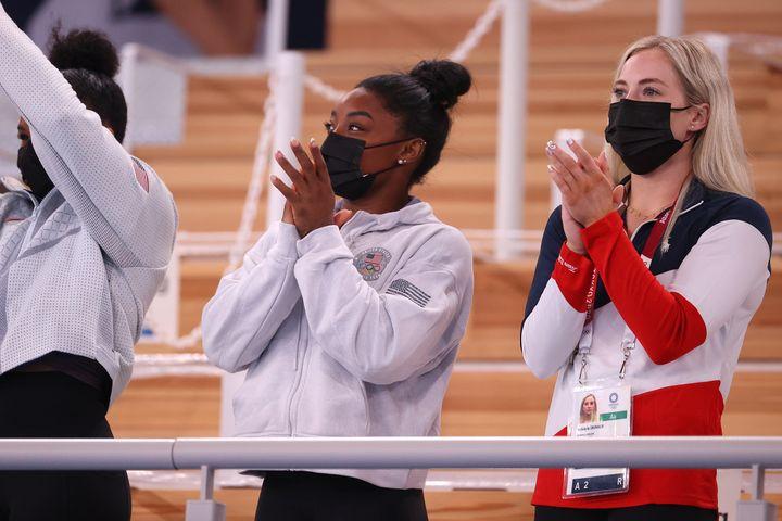 Simone Biles and MyKayla Skinner cheered on Sunisa Lee in the women's all-around.