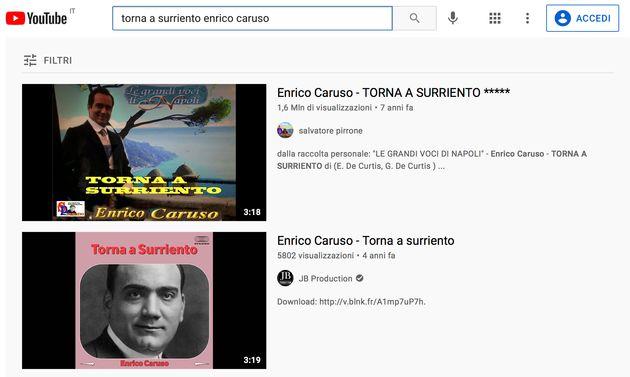 Due filmati con Enrico Caruso che canta