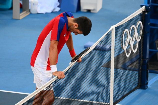 Novak Djokovic après sa défaite face à Pablo Carreno Busta aux JO de Tokyo le 31 juillet