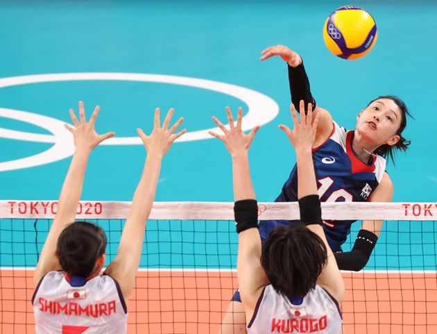 Kim Yeon-kyung, who scored the most points for both teams in the match