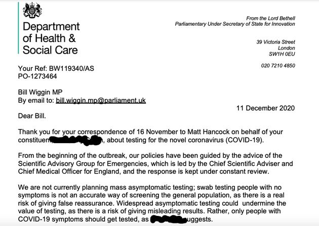 Lord Bethell letter on asymptomatic testing
