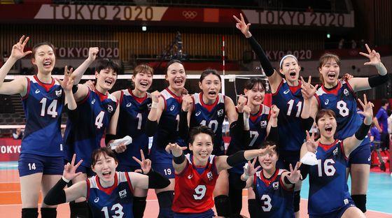 일본과의 경기에서 승리한 대한민국