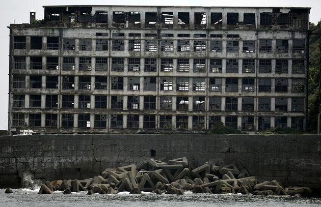 일본 군함도 한 건물의