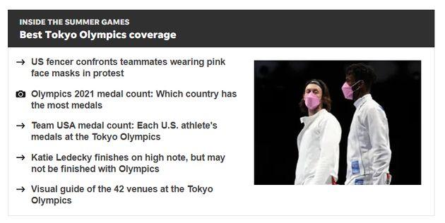 USA투데이는 미국 펜싱팀 선수들이 핑크 마스크로 세이프 스포츠의 결정에 항의하고 있다고