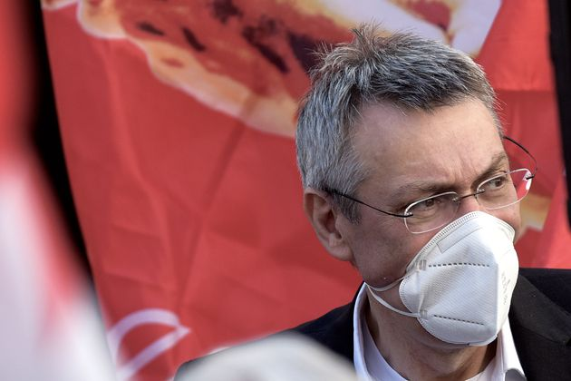 ROME, ITALY - MAY 28: The General Secretary of the CGIL trade union Maurizio Landini during a demonstration...