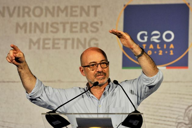 NAPOLI, ITALY - 2021/07/23: Roberto Cingolani Minister of the environment and protection of the territory...