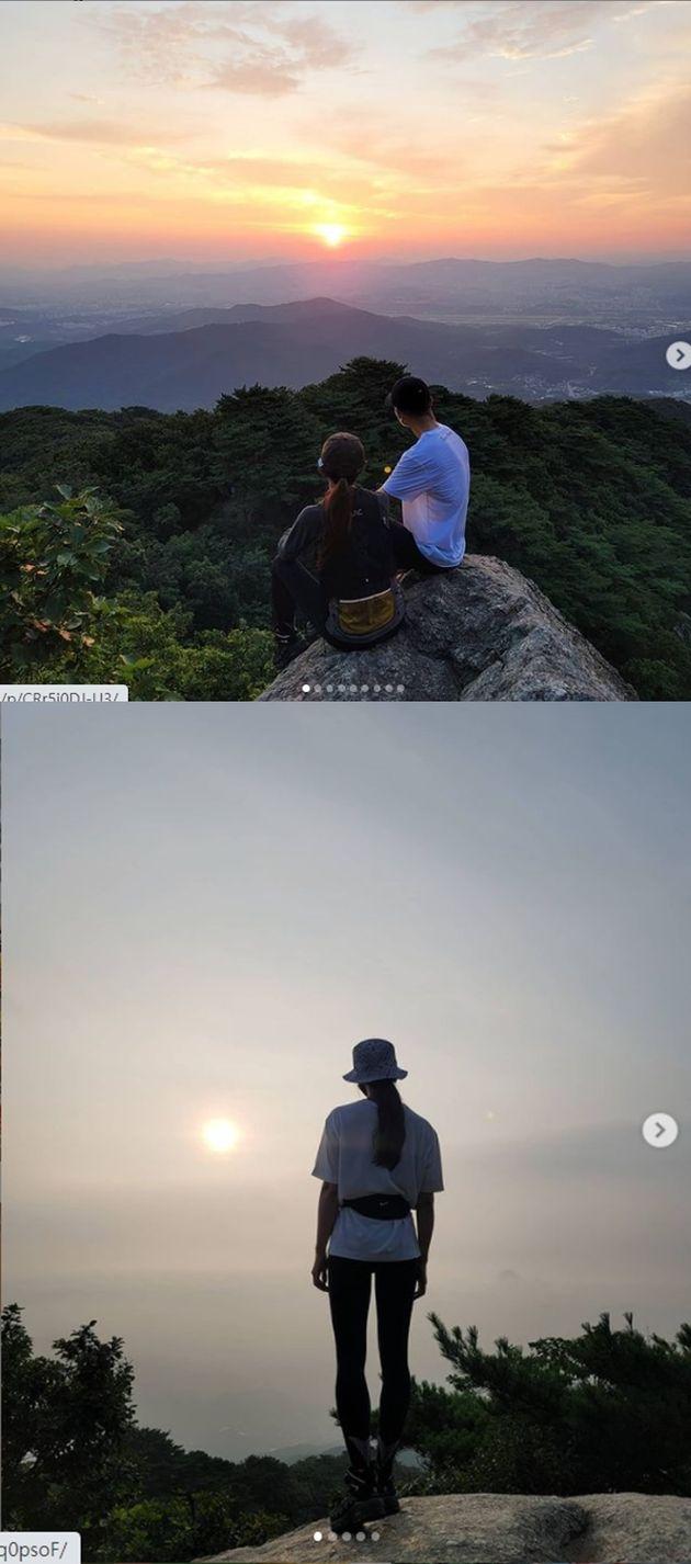 이시영과 션이 새벽 4시 일출 산행을 한 모습과 오늘 1일 올라온