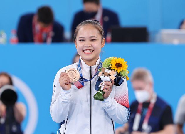1일 도쿄 아리아케 체조경기장에서 열린 2020 도쿄 올림픽 여자 도마 결선에서 동메달을 획득한