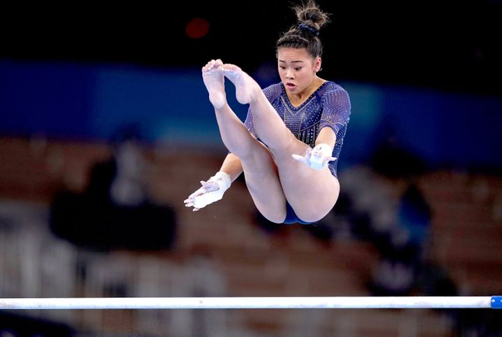 Sunisa Lee scored a 14.500, well below what she often gets on the uneven bars.