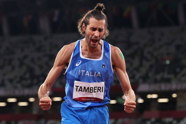 TOKYO, JAPAN - AUGUST 01: Gianmarco Tamberi of Team Italy reacts during the Men's High Jump Final on...