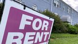 """A """"For Rent"""" sign is displayed in front of an apartment building in Arlington, Virginia, U.S., June 20, 2021. The U.S. Supreme Court has declined to block the U.S. Centers for Disease Control and Prevention's pandemic-related eviction moratorium. Picture taken June 20, 2021. REUTERS/Will Dunham"""
