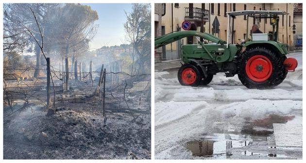 Gli incendi in Abruzzo, la grandinata in