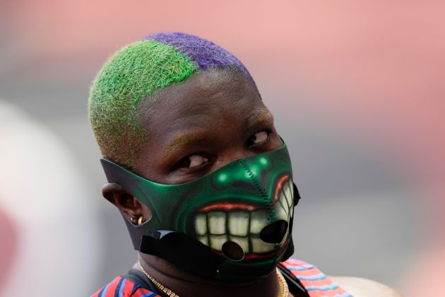 決勝戦ではハルクのマスクを着用したソーンダーズ選手(2021年8月1日撮影)