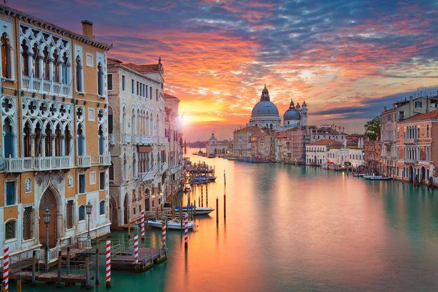 Image of Grand Canal in Venice, with Santa Maria della Salute Basilica in the