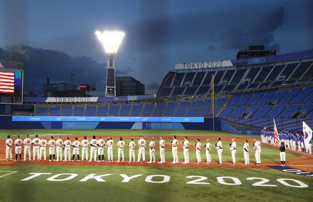 横浜スタジアムで行われた、予選リーグのアメリカ対韓国戦(2020年7月31日)