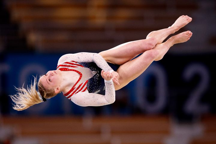 Jade Carey goes airborne in the floor exercise final during her gold-medal performance.