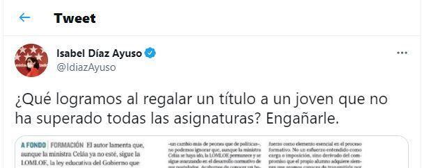 El tuit de Isabel Díaz