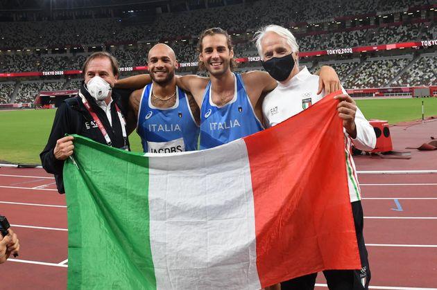 Il presidente del Coni Giovanni Malagò (D) e il presidente della Federazione Italiana di Atletica Leggera...