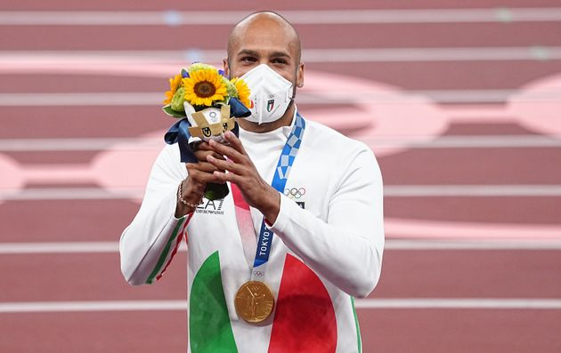 02 August 2021, Japan, Tokio: Athletics: Olympics, 100 m, men, final, at the Olympic Stadium. Marcell...