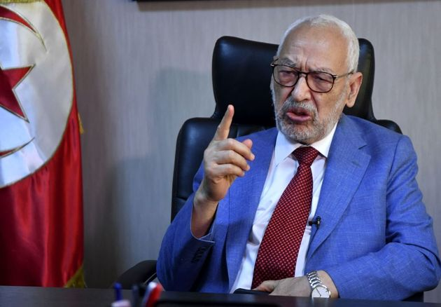 Tunisia's parliament speaker and and Ennahdha party leader Rached Ghannouchi gives an interview with...