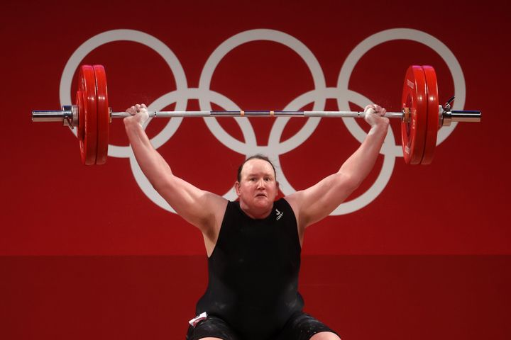 Laurel Hubbard of New Zealand attempts a lift in in the Olympic weightlifting on Monday.