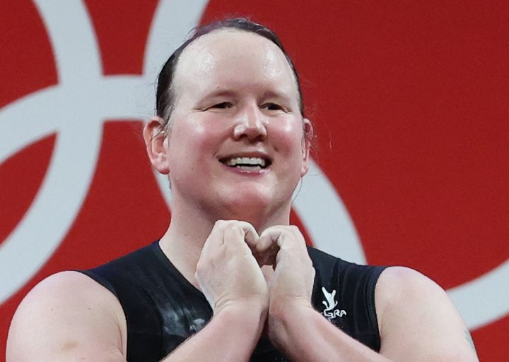 Laurel Hubbard made a heart gesture to those watching the Olympic weightlifting at the Tokyo Olympics.