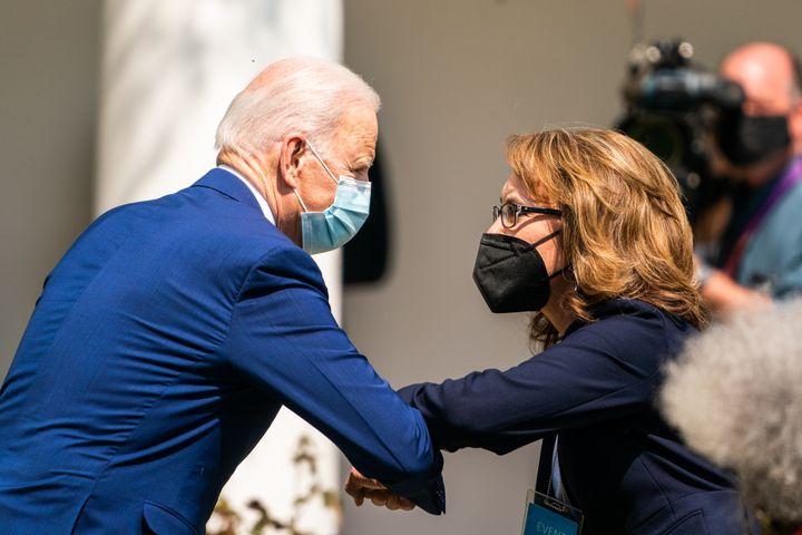 President Joe Biden greets former Rep. Gabrielle Giffords after giving a speech on gun violence prevention in the Rose Garden
