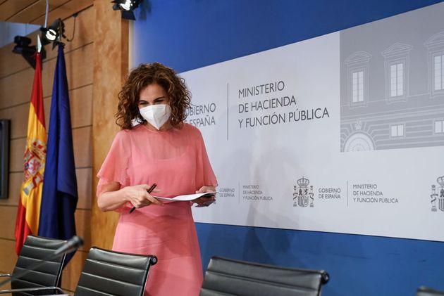 La ministra de Hacienda, María Jesús Montero, este lunes en el