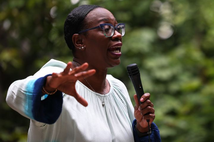 U.S. Congressional candidate Nina Turner speaks to a crowd of volunteers before a Get Out the Vote canvassing event on July 30, 2021 in Cleveland Heights, Ohio. A special election is set for Aug. 3 for Ohio's 11th congressional district primary.
