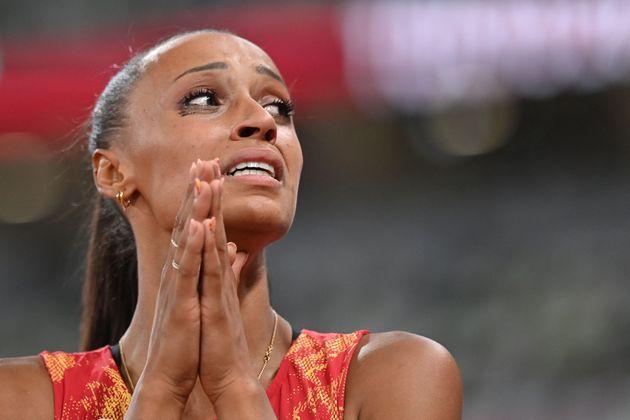 Ana Peleteiro, durante su actuación en la final de triple