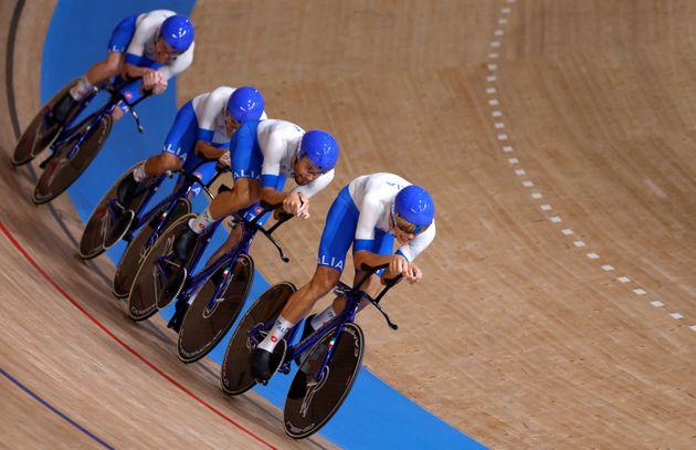 Italy's Simone Consonni, Italy's Filippo Ganna, Italy's Francesco Lamon and Italy's Jonathan Milan compete...
