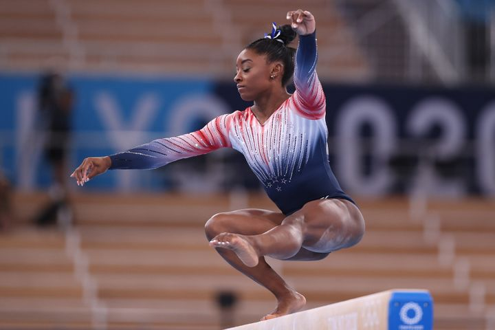 Simone Biles competes in the women's balance beam final on day 11 of the Tokyo 2020 Olympic Games.