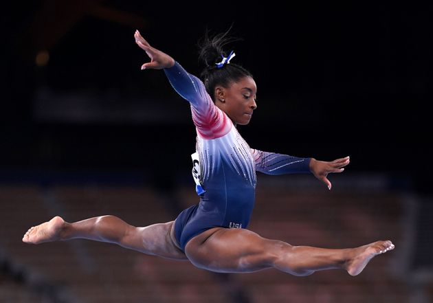 USA's Simone Biles in the Women's Balance Beam Final at Ariake Gymnastic Centre on the eleventh day of...