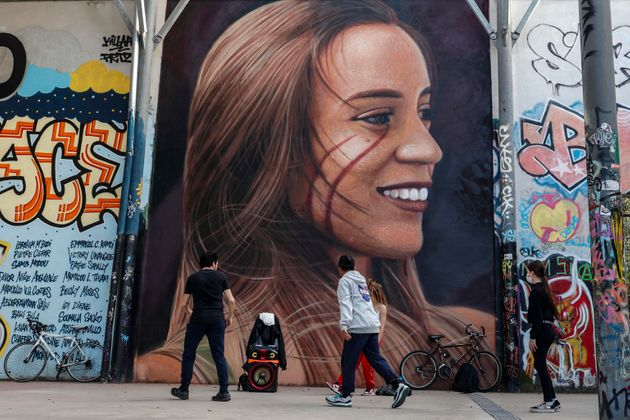 Mural, outside the former SNIA Viscosa factory, by the street artist Jorit Agoch which portrays depicting...