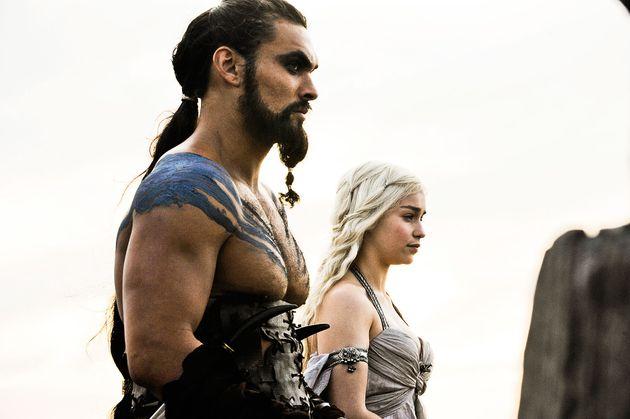 Jason as Khal Drogo and Emilia Clarke as Daenerys Targaryen in Game Of