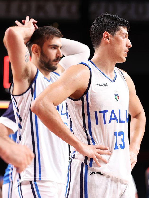SAITAMA, JAPAN - AUGUST 03: Simone Fontecchio #13 of Team Italy and teammate Riccardo Moraschini #24...
