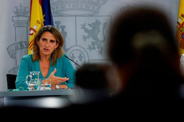 La ministra para la Transición Ecológica, Teresa Ribera, durante la rueda de prensa posterior a la reunión...