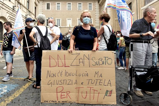 ROME, ITALY - JULY 13: People take part in the demonstration near the Senate to support Zan Law against...
