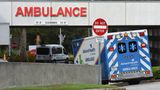 An ambulance arrives at the emergency department at AdventHealth hospital in Orlando on July 26, the day that hospital officials reported they were elevating to level red with a full ICU and more than 900 patients hospitalized with COVID-19 in Central Florida.