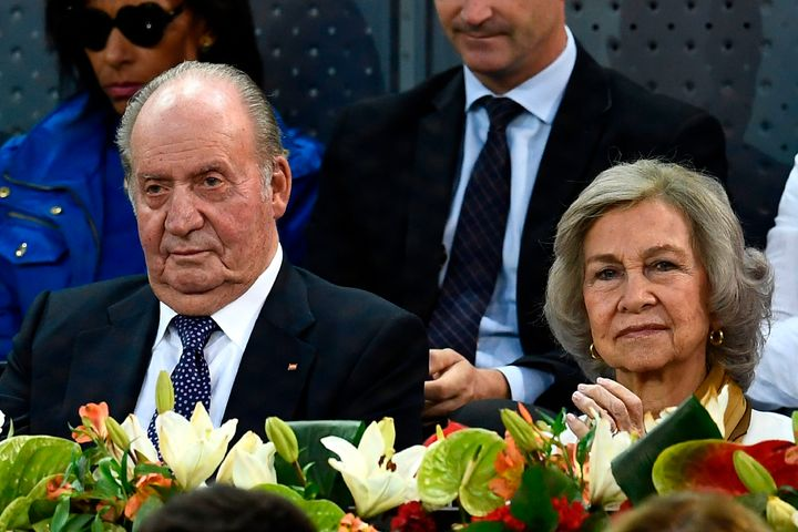 El rey Juan Carlos y la reina Sofía en la semifinal del Madrid Open en 2019.