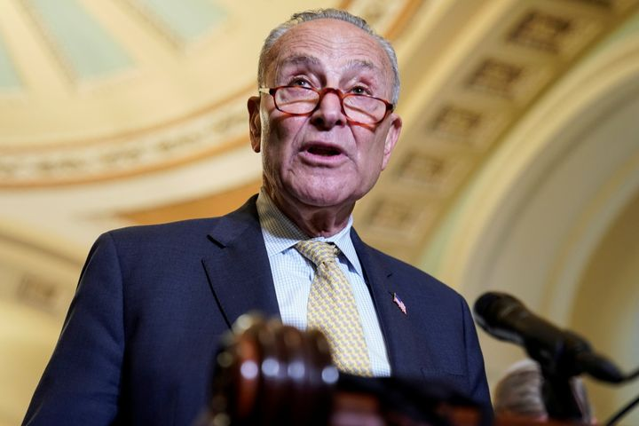 Senate Majority Leader Chuck Schumer (D-N.Y.) speaks after a Democratic policy luncheon on Capitol Hill in Washington, D.C., July 27.