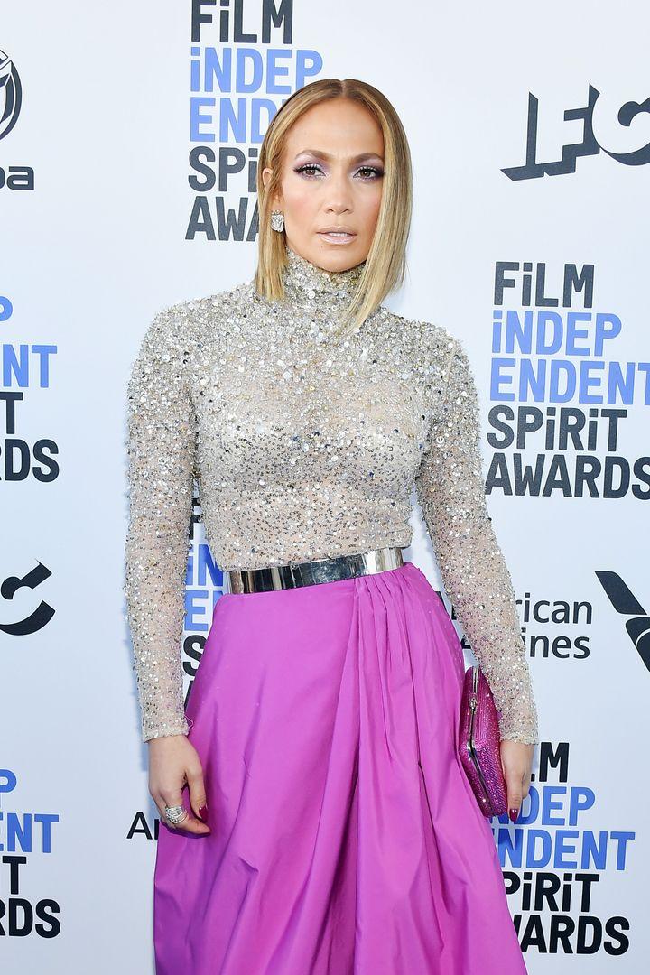 Jennifer Lopez at the 2020 Film Independent Spirit Awards in February, 2020 in Santa Monica, California.