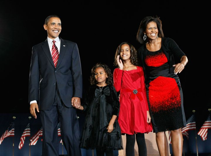 President-elect Barack Obama stands on stage with his family during an election night gathering in Grant Park in Chicago on Nov. 4, 2008.