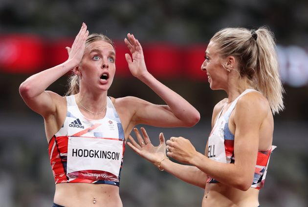 Keely Hodgkinson of Team Great Britain, with teammate Alexandra Bell, after she won the silver medal...