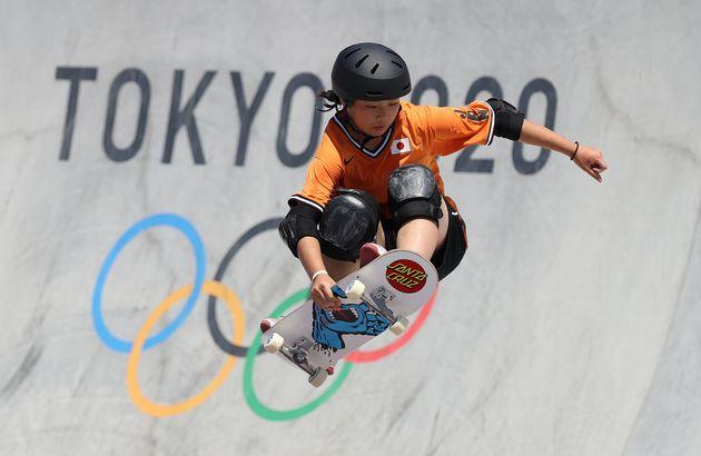 スケートボード・パーク女子決勝で4位となった岡本碧優(みすぐ)選手