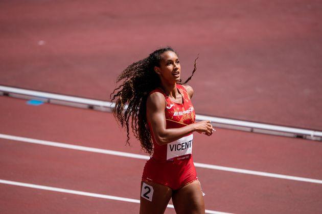 La atleta María Vicente tras disputar una prueba en