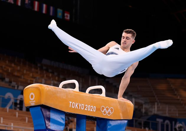 Max Whitlock of Great Britain competes during the men's pommel horse final of artistic gymnastics at...