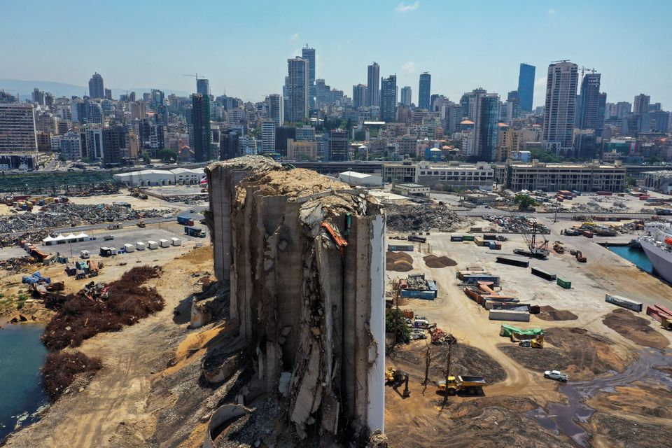 Drone footage of Beirut port and its surroundings almost a year after