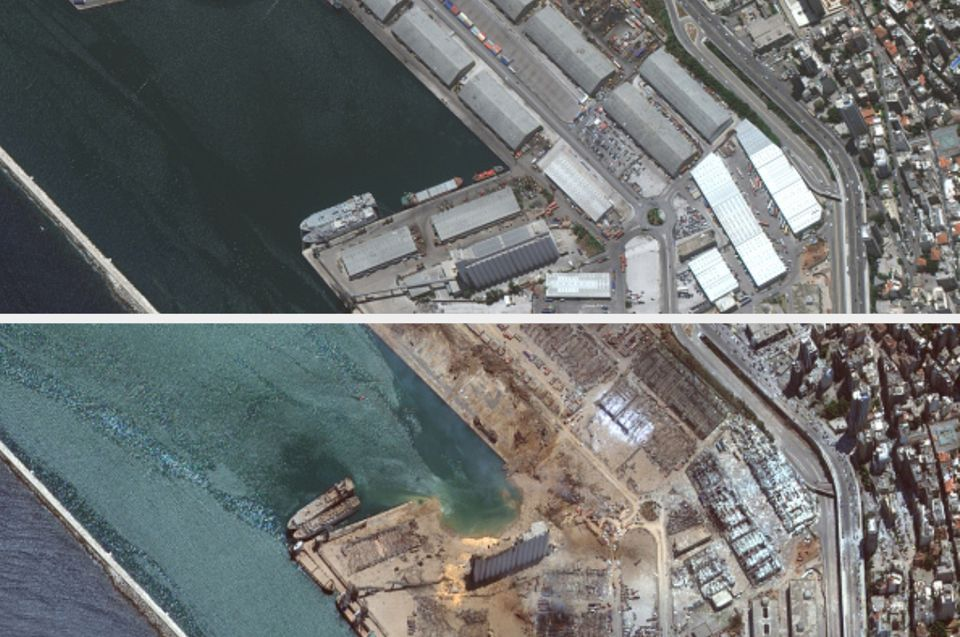 The port of Beirut before (top) and after the